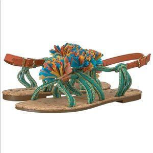Colorful Pom Pom Sandals NWB